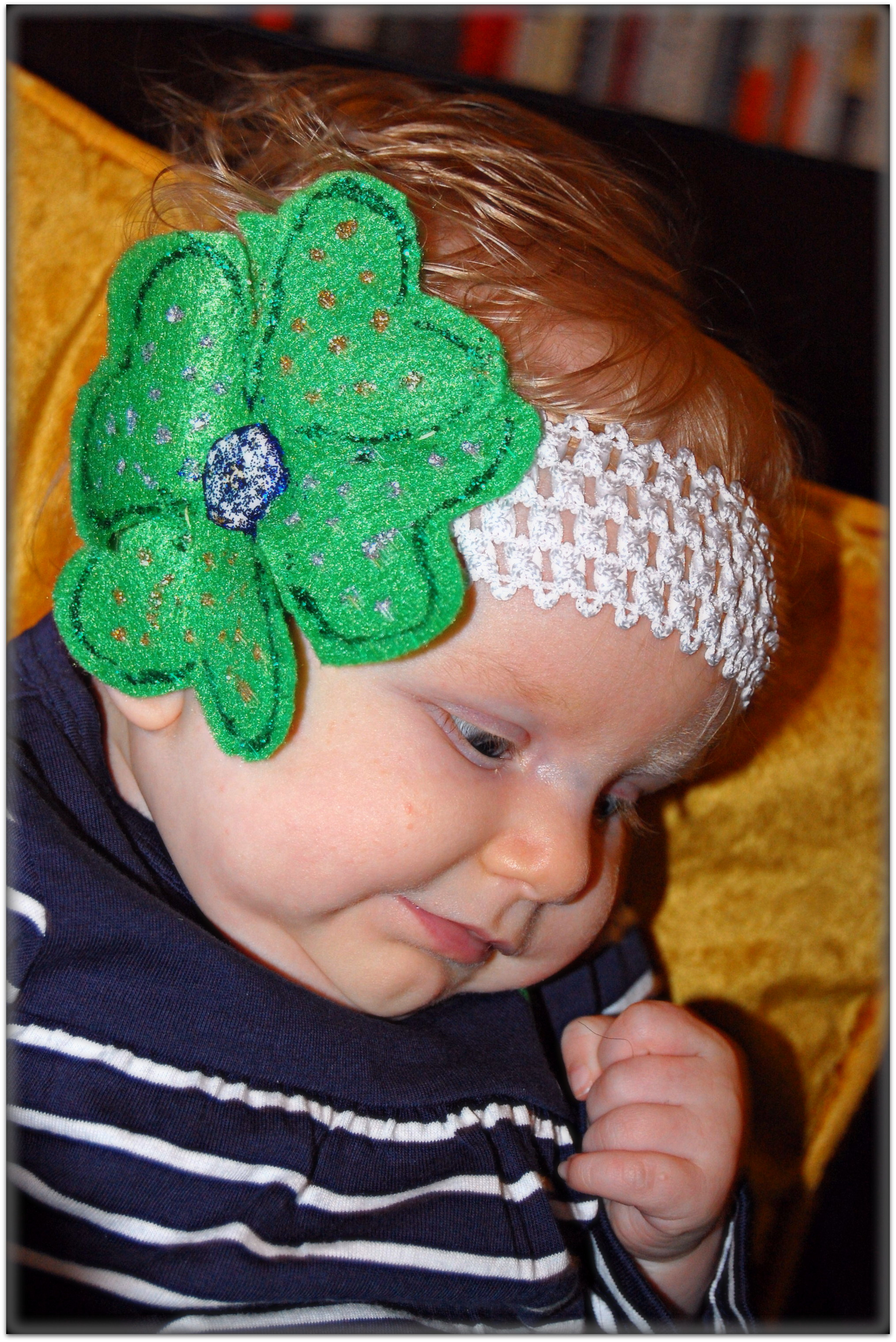 St. Patrick's Day baby headband on Baby Girl